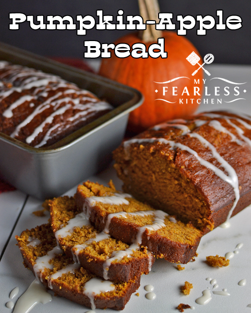 Pumpkin-Apple Bread from My Fearless Kitchen. This Pumpkin-Apple Bread has all the fun flavors of fall, and the icing gives it a perfect hint of sweetness. Eat it like bread or like cake and enjoy!