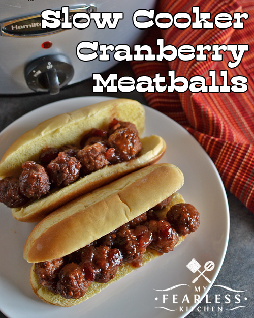 Slow Cooker Cranberry Meatballs from My Fearless Kitchen. If you have plans of tailgating this fall, you definitely want to make these Slow Cooker Cranberry Meatballs! The cranberries and hint of cloves make these the perfect meatballs for a fall tailgate party.