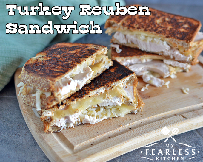 Turkey Reuben Sandwich from My Fearless Kitchen. Do you need something fun to do with leftover turkey? Or are you looking for a quick and easy weeknight meal? These Turkey Reuben Sandwiches will be a hit!