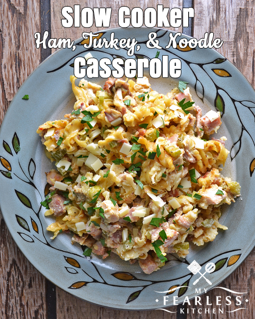 Slow Cooker Ham, Turkey, & Noodle Casserole from My Fearless Kitchen. Are you looking for something different to do with your leftovers? Use leftover turkey and ham in this easy Slow Cooker Ham, Turkey, and Noodle Casserole.