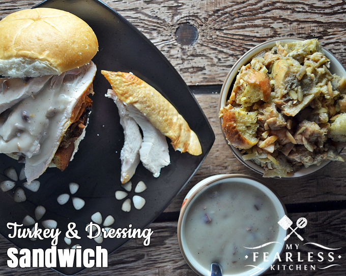 Turkey & Dressing Sandwich from My Fearless Kitchen. What's a roast turkey without a leftover turkey sandwich? Make the most of all your leftovers with this Turkey and Dressing Sandwich.