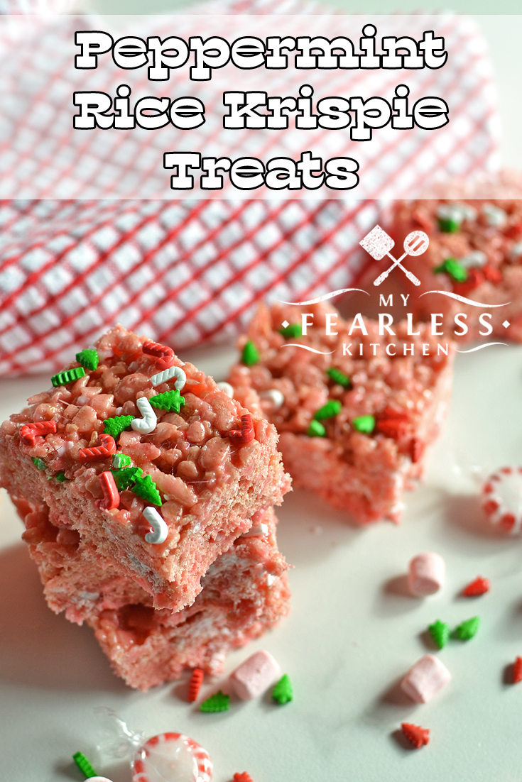 Peppermint Rice Krispie Treats from My Fearless Kitchen. If you love ooey-gooey treats and peppermint, these Peppermint Rice Krispie Treats are perfect for you! They are quick to make and even faster to disappear! #ricekrispie #peppermint #christmas