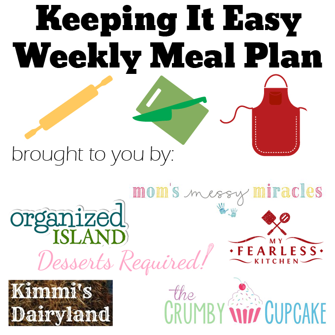 Easy Weekly Meal Plan #35 from My Fearless Kitchen. This week's meal plan includes Peanut Butter & Jelly Poppers, Summer Vegetable & Sausage Pasta, Sesame Ginger Steak Cabbage Boats, Skillet Spaghetti, Buffalo Chicken Pizza, Slow Cooker Ham & Ranch Potatoes, and Buckeye Cupcakes.