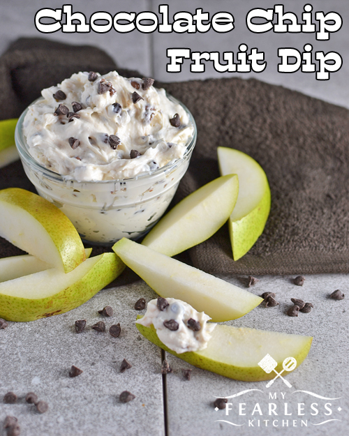 Chocolate Chip Fruit Dip from My Fearless Kitchen. Are you looking for a new way to make snack time fun? This Chocolate Chip Fruit Dip is simple to make and so yummy you won't want to share with anyone!