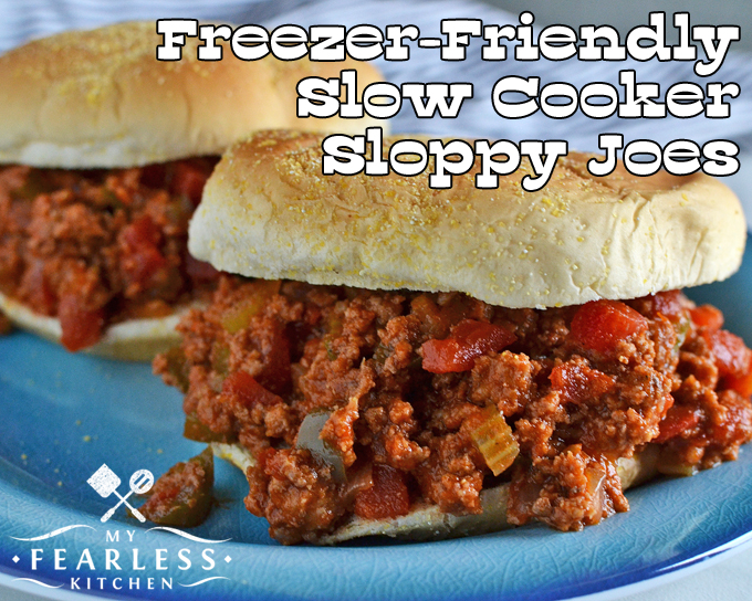 Freezer-Friendly Slow Cooker Sloppy Joes from My Fearless Kitchen. This recipe for sloppy joes has lots of ground beef and vegetables. It cooks up easily in your crockpot and is the perfect freezer meal.