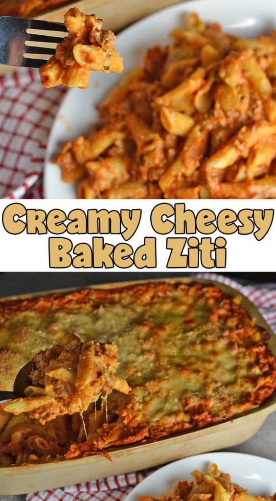 Creamy Cheesy Baked Ziti from My Fearless Kitchen. Are you looking for a baked ziti dish that's packed with cheese and still smooth and creamy? This Creamy Cheesy Baked Ziti recipe is perfect for you! #groundbeef #pasta #cheese