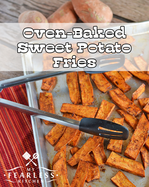 oven-baked sweet potato fries on a baking sheet