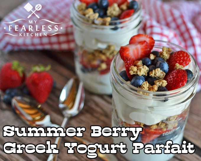 Summer Berry Greek Yogurt Parfait from My Fearless Kitchen. Are you looking for a quick, easy snack that everyone will like and is good for you? This recipe for Summer Berry Greek Yogurt Parfait will be a favorite!