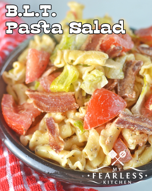 BLT Pasta Salad from My Fearless Kitchen. Do you want a different way to eat a BLT, or do you need an easy side dish? This BLT Pasta Salad is perfect. It's packed with flavor and lots of veggies.