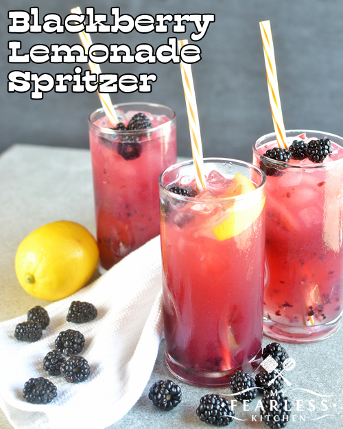 Blackberry Lemonade Spritzer from My Fearless Kitchen. Are you looking for a refreshing summertime drink for adults and kids? You'll love this Blackberry Lemonade Spritzer. Make it a cocktail or a mocktail, and everyone can enjoy it!