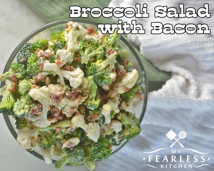 overhead view of broccoli cauliflower salad with bacon