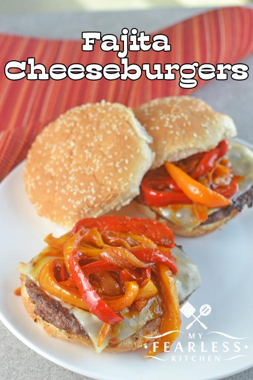 two fajita cheeseburgers on a white plate