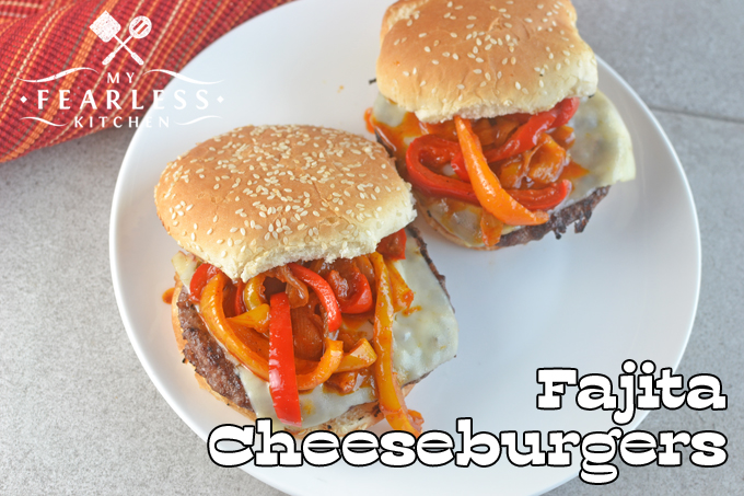 overhead view of two Fajita Cheeseburgers with red and orange pepper strips