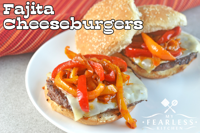 cheeseburgers topped with lots of fajita vegetables