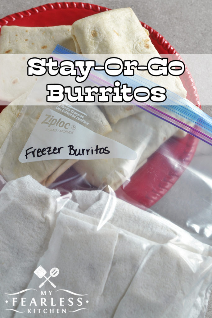 Stay or Go Burritos from My Fearless Kitchen. Everybody needs a go-to recipe for busy nights. Enjoy these Stay or Go Burritos for a family dinner and keep some in the freezer to grab on the way out the door for a night on the run. #burritos #freezerfriendly #groundbeef #recipes #groundbeef