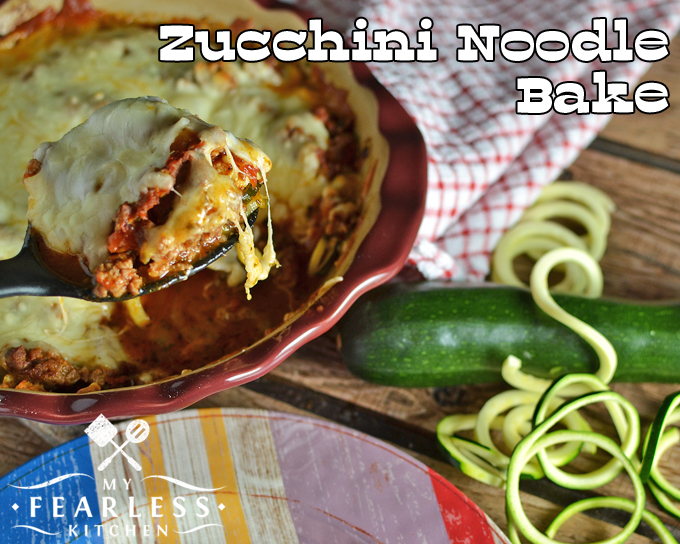 Zucchini Noodle Bake from My Fearless Kitchen. Are you looking for something different to do with zucchini? This Zucchini Noodle Bake is easy to make, fun, and the whole family will love it!
