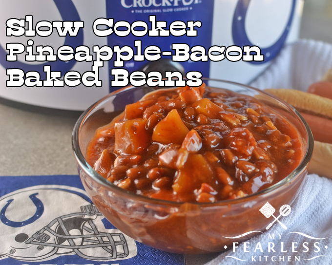 Slow Cooker Pineapple-Baked Beans from My Fearless Kitchen. Make these Slow Cooker Pineapple-Bacon Baked Beans in 10 minutes for your next summer picnic or tailgate party. They're so good, there won't be leftovers!