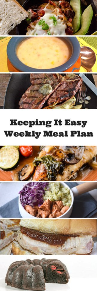 Easy Weekly Meal Plan #28 from My Fearless Kitchen. This week's meal plan includesEggs in Purgatory, Mushroom Spinach Chicken with White Wine Sauce, T-Bone Steaks with Compound Butter, Maple Baked Chicken Bites, MexiCorn Chowder, Pork Sliders with Apple Butter, and Rasbperry Liqueur Chocolate Raspberry Cake.
