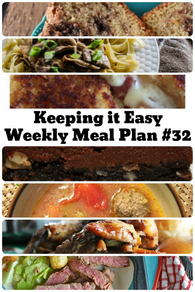Easy Weekly Meal Plan #32 from My Fearless Kitchen. This week's meal plan includesEasy Cinnamon Bread, 30-Minute Beef Stroganoff, Meatball Soup, Bacon Pepper Jack Grilled Cheese, Simple Marinated Ribeye Steak, Slow Cooker Pepsi Ribs, and Kitchen Sink Bars.