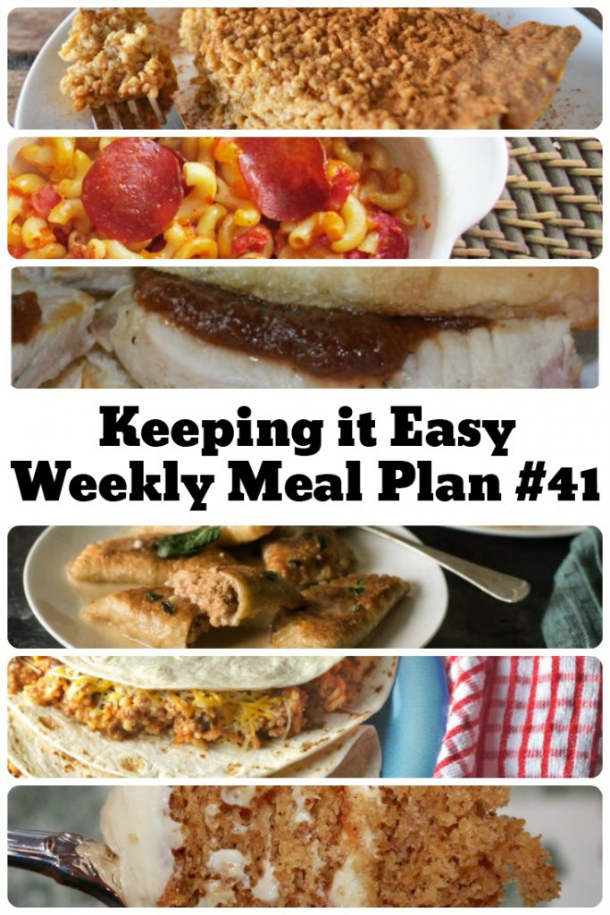 Easy Weekly Meal Plan #41 from My Fearless Kitchen. This week's meal plan includes Pumpkin Pie Baked Oatmeal, Pork Sliders with Apple Butter, Freezer Friendly Taco Rice, Brown Sugar Baked Salmon, Pumpkin Walnut Sage Pierogies, Pepperoni & Tomato Macaroni, Pumpkin Cake with Caramel Cream Cheese Icing.