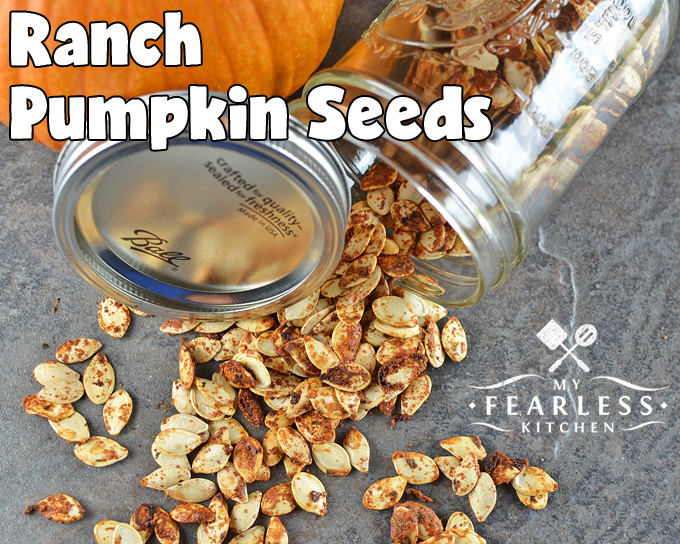 Ranch Pumpkin Seeds from My Fearless Kitchen. Do you love fall? What about ranch? Then you are going to love these Ranch Pumpkin Seeds! Scoop out your Halloween pumpkin and enjoy this delicious snack!