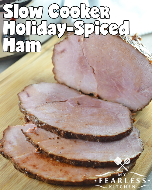 close up view of sliced boneless slow cooked ham