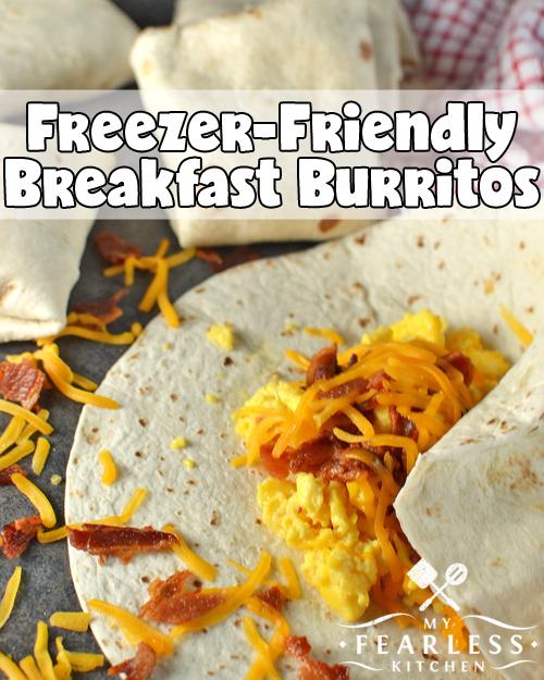 scrambled eggs and bacon in a breakfast burrito