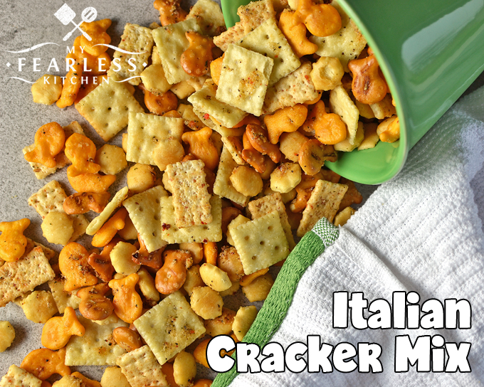 Italian Cracker Mix from My Fearless Kitchen. Are you looking for a new snack mix recipe? This Italian Cracker Mix is fast and easy to make, and has just the right amount of kick to keep you snacking!