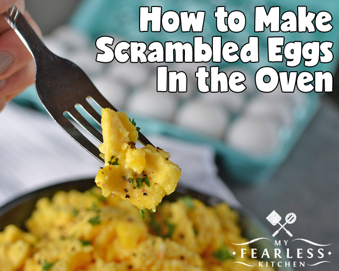 How to Make Scrambled Eggs in the Oven from My Fearless Kitchen. Have you ever felt like a short-order cook in your own kitchen? Use this trick to make scrambled eggs in your oven, and easily feed a crowd in a hurry.