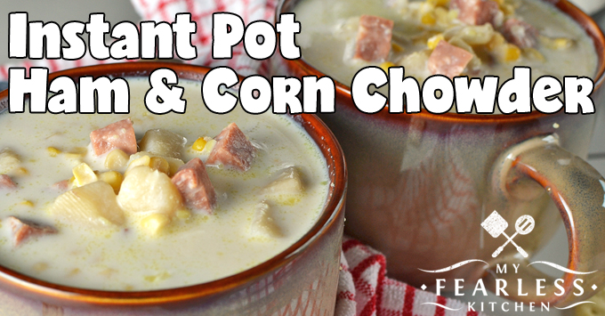 close up of two bowls of instant pot ham and corn chowder