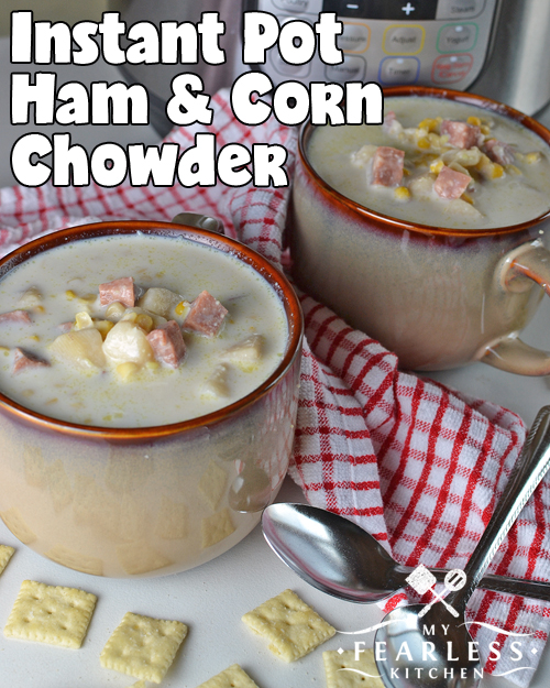 Instant Pot Ham & Corn Chowder from My Fearless Kitchen. If you love a thick, hearty soup, you'll love this Instant Pot Ham & Corn Chowder! Cooking soup in an electric pressure cooker makes it taste like you slaved over the stove all day, even though it took about an hour to make!