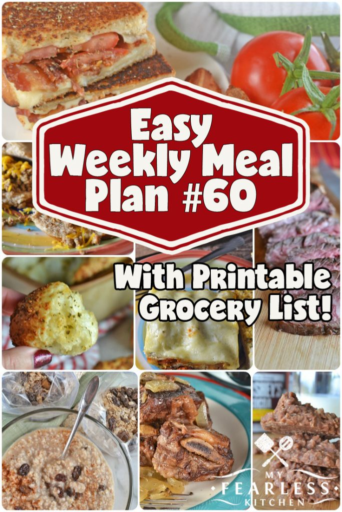 collage of recipes for an easy weekly meal plan