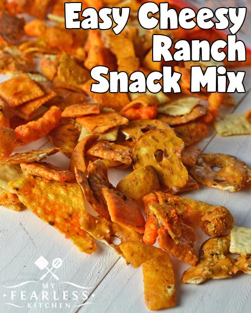 cheese and ranch flavored snack mix on a white background