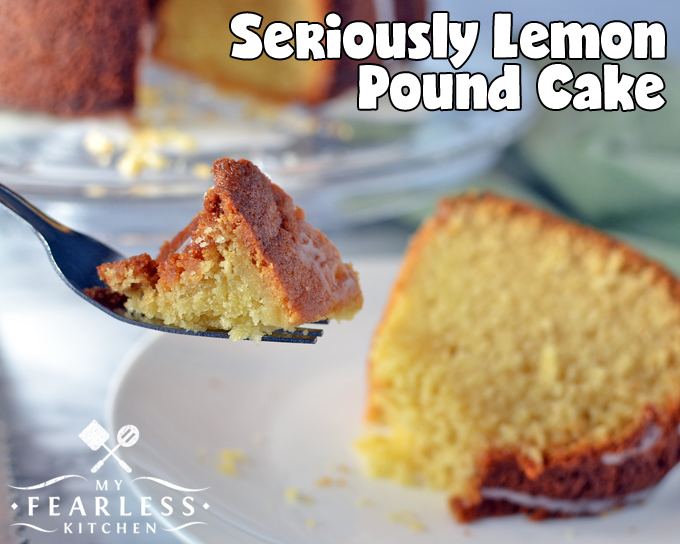 Seriously Lemon Pound Cake from My Fearless Kitchen. If you want a delicious, light, lemony, homemade dessert, you've come to the right place! This Seriously Lemon Pound Cake is so easy and packed with fantastic lemon flavor. It's perfect for a brunch, dessert, an afternoon snack, or even breakfast!