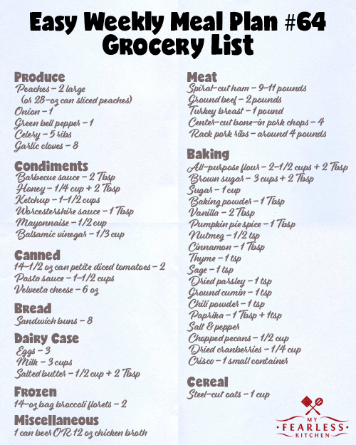 printable grocery list for meal plan 64