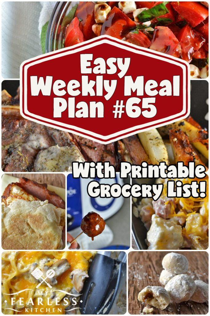 collage of recipes in this week's easy meal plan
