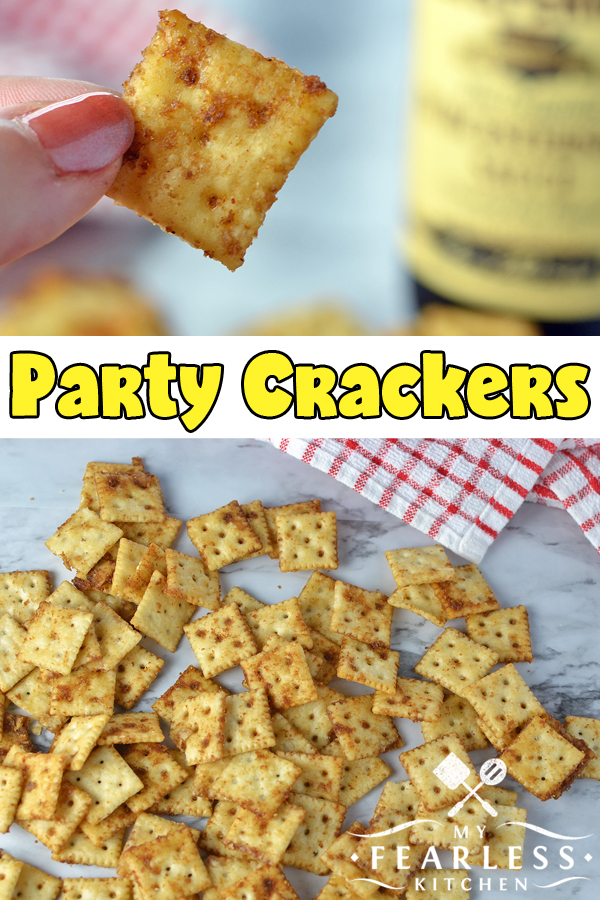 Party Crackers from My Fearless Kitchen. These Party Crackers are delicious by themselves, with a creamy dip, or tossed in a soup or chili.Use your imagination and use these seasoned crackers anywhere you want a little extra crunch and flavor! #snacks #crackers #snackmix #easyrecipes