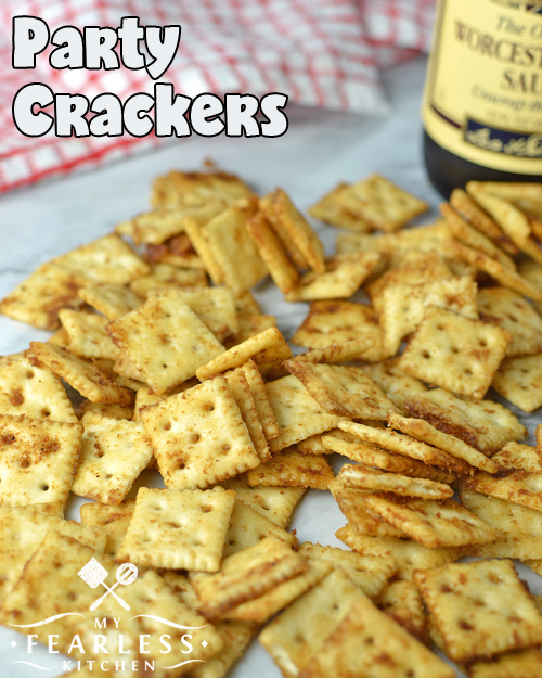 seasoned mini saltine crackers with Lea & Perrins Worcestershire sauce in the background