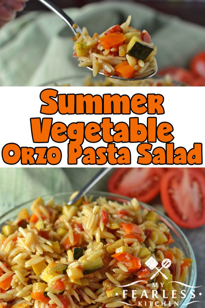 Summer Vegetable Orzo Pasta Salad from My Fearless Kitchen. Do you need a side dish for a summer party, or just something fun to make for a family dinner? You'll love all the flavors in this Summer Vegetable Orzo Pasta Salad! #pastasalad #vegetables #easyrecipes