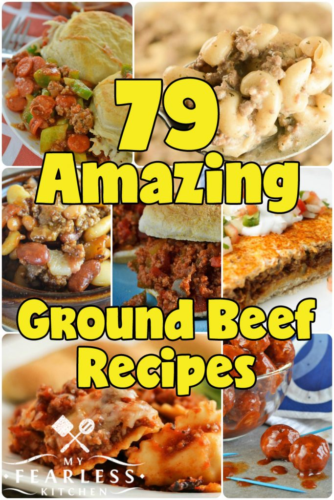 79 Amazing Ground Beef Recipes from My Fearless Kitchen. Ground beef is a staple for quick and easy meals, but sometimes it can be hard to come up with new ideas. You'll love this list of 79 Amazing Ground Beef Recipes! There are sure to be some new family favorites in this list, and I guarantee you won't be bored!