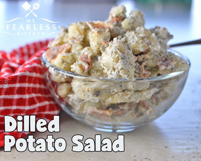 Dilled Potato Salad from My Fearless Kitchen. Do you need a quick and easy side dish for dinner tonight? This simple Dilled Potato Salad is perfect for a fast weeknight meal, a lazy summer picnic, or anything in between!