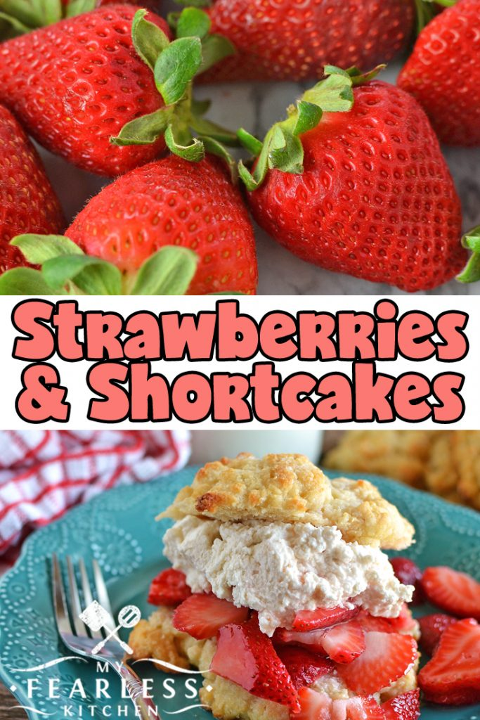 collage of close up view of strawberries and strawberry shortcake with homemade whipped cream