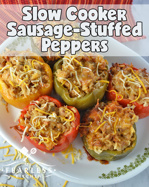 Slow Cooker Sausage-Stuffed Peppers from My Fearless Kitchen. These Slow Cooker Sausage-Stuffed Peppers are a great way to use garden-fresh big bell peppers! Stash some extra in the freezer for a quick meal on a busy night.