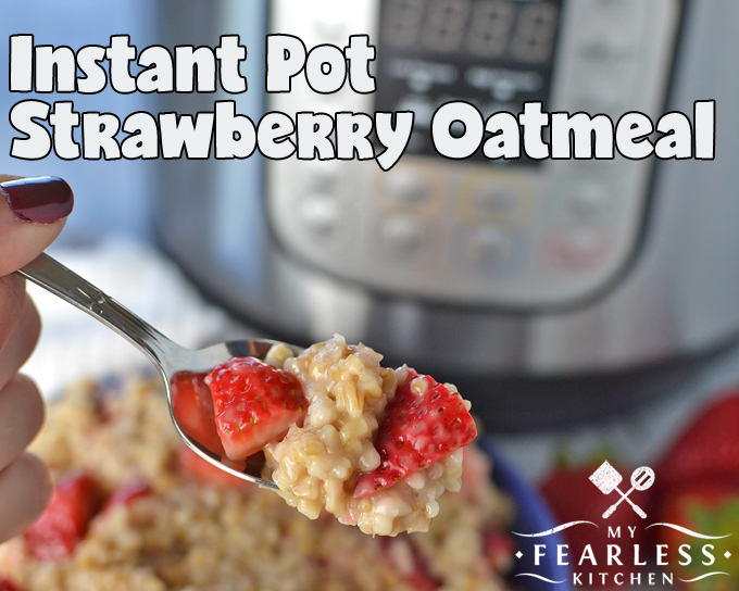 a spoonful of steel-cut oatmeal with strawberries with an Instant Pot in the background