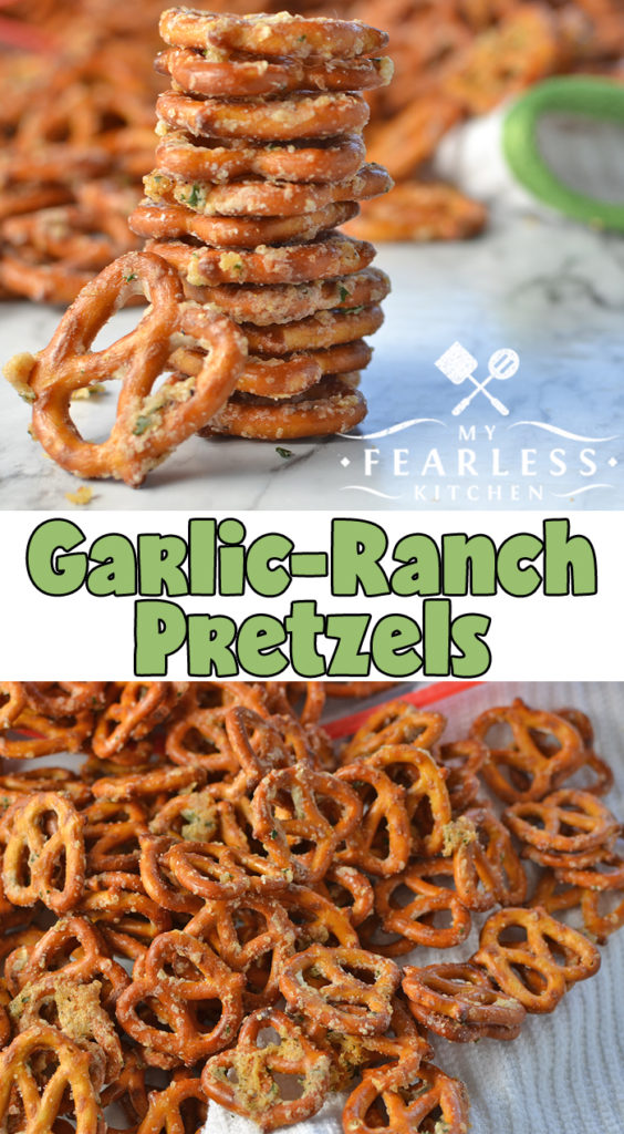 Garlic-Ranch Pretzels from My Fearless Kitchen. These Garlic-Ranch Pretzels are a perfect snack for an afternoon pick-me-up, a relaxing evening, or any party! They are simple to make and packed with flavor! #snackrecipes #easyrecipes #pretzels #backtoschool