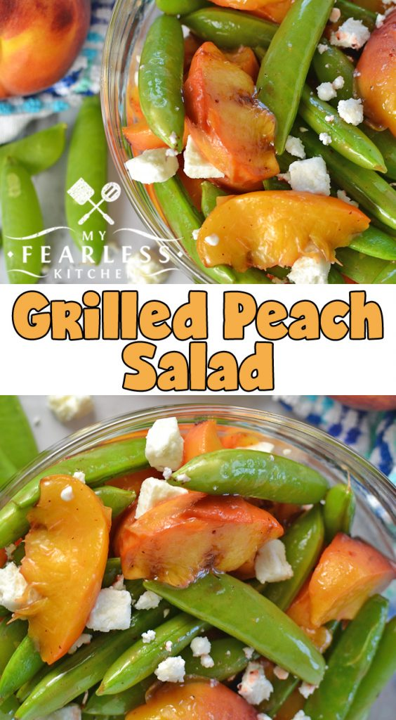 Grilled Peach Salad from My Fearless Kitchen. Grab some fresh peaches and fire up your grill. This Grilled Peach Salad is perfect with any grilled meal, or by itself for an easy, delicious snack! #easyrecipes #grill #peachrecipes #salad