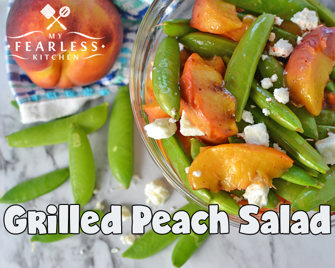 Grilled Peach Salad from My Fearless Kitchen. Grab some fresh peaches and fire up your grill. This Grilled Peach Salad is perfect with any grilled meal, or by itself for an easy, delicious snack!