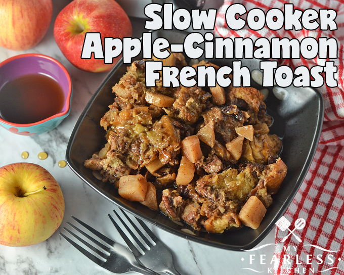 Slow Cooker Apple-Cinnamon French Toast from My Fearless Kitchen. Is it dessert or is it breakfast? This Slow Cooker Apple-Cinnamon French Toast has all the flavors of an apple pie, perfect for brunch on a cool fall weekend.