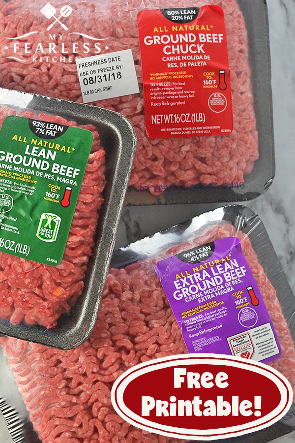 Ground Beef Buyer's Guide from My Fearless Kitchen. Do you get confused at the meat counter? There are so many ground beef options, it's hard to choose. Let me help you buy the right ground beef for your recipe. This Ground Beef Buyer's Guide has all the information you need! #kitchentips #kitchenhacks #groundbeef