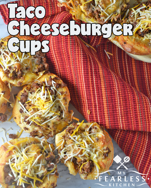 Taco Cheeseburger Cups from My Fearless Kitchen. Tacos and cheeseburgers all in one? Make these Taco Cheeseburger Cups for Taco Tuesday or for your regular burger night. Who can refuse a cheeseburger taco?